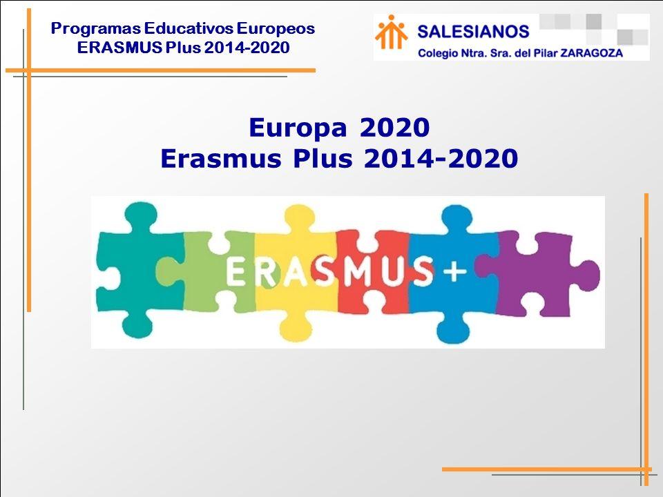 Programas Educativos Europeos ERASMUS Plus 2014-2020 Punto de partida Europa 2020 Junio 2010, el Consejo de Europa suscribió ET 2020, como estrategia de crecimiento de la U.E.