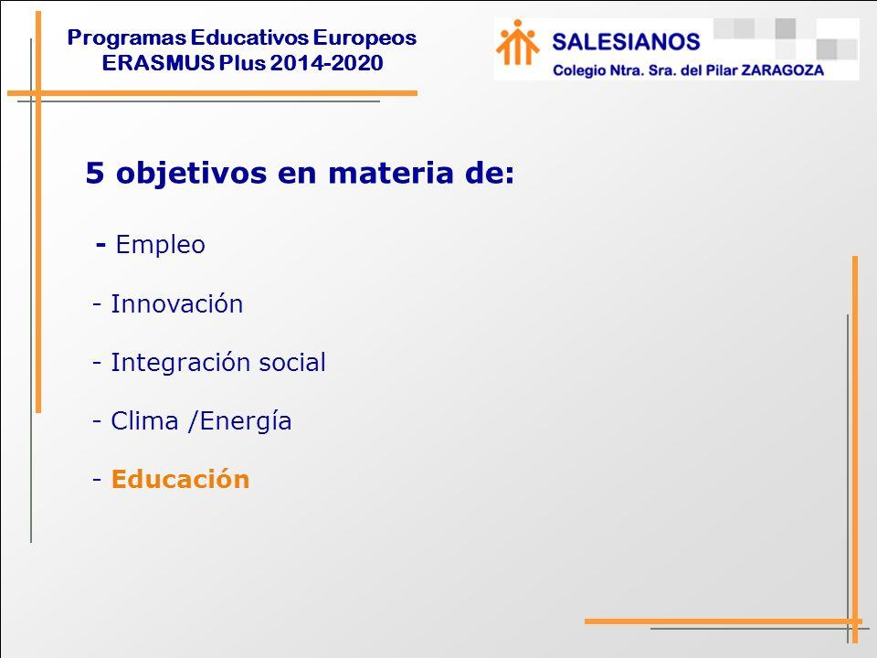 Programas Educativos Europeos ERASMUS Plus 2014-2020 OBJETIVOS DE ET 2020 EN EDUCACIÓN - Lograr que un 15% de adultos (25-64 años) participe en programas de aprendizaje a lo largo de la vida.