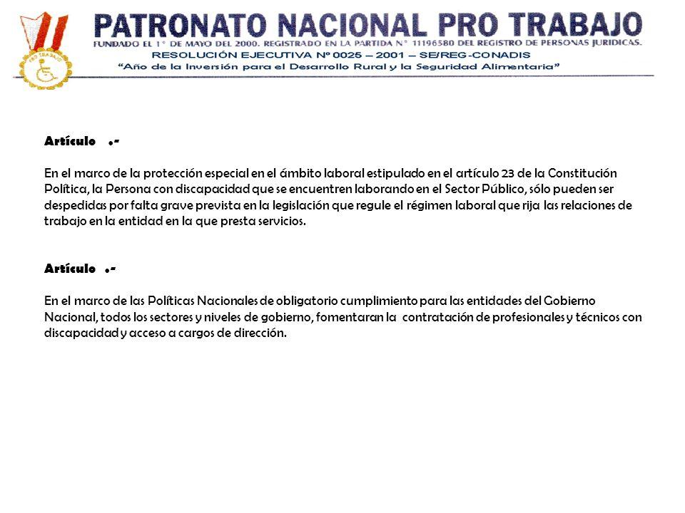 Artículo.- En el marco de la protección especial en el ámbito laboral estipulado en el artículo 23 de la Constitución Política, la Persona con discapa