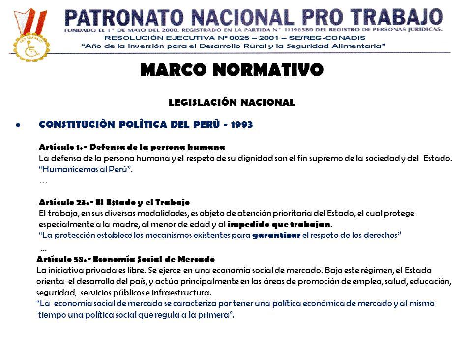 MARCO NORMATIVO LEGISLACIÓN NACIONAL CONSTITUCIÒN POLÌTICA DEL PERÙ - 1993 Artículo 1.- Defensa de la persona humana La defensa de la persona humana y