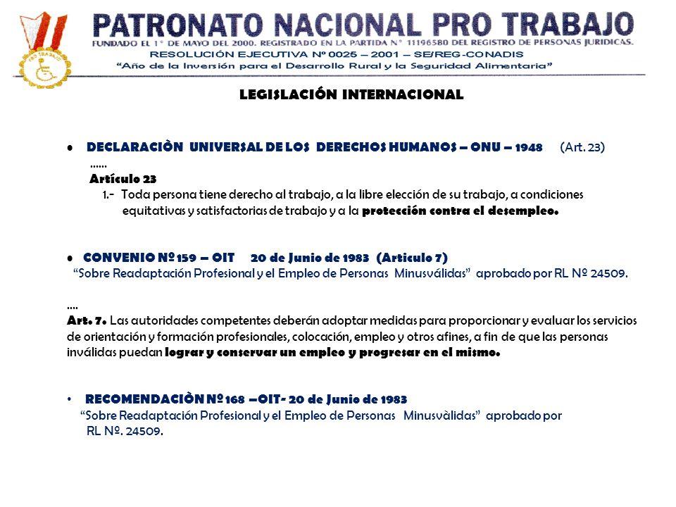LEGISLACIÓN INTERNACIONAL DECLARACIÒN UNIVERSAL DE LOS DERECHOS HUMANOS – ONU – 1948 (Art. 23) …… Artículo 23 1.- Toda persona tiene derecho al trabaj