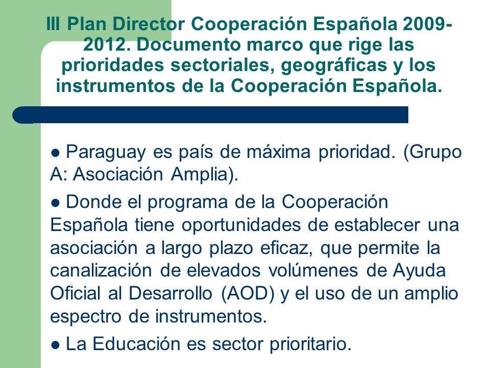 III Plan Director Cooperación Española 2009- 2012. Documento marco que rige las prioridades sectoriales, geográficas y los instrumentos de la Cooperac