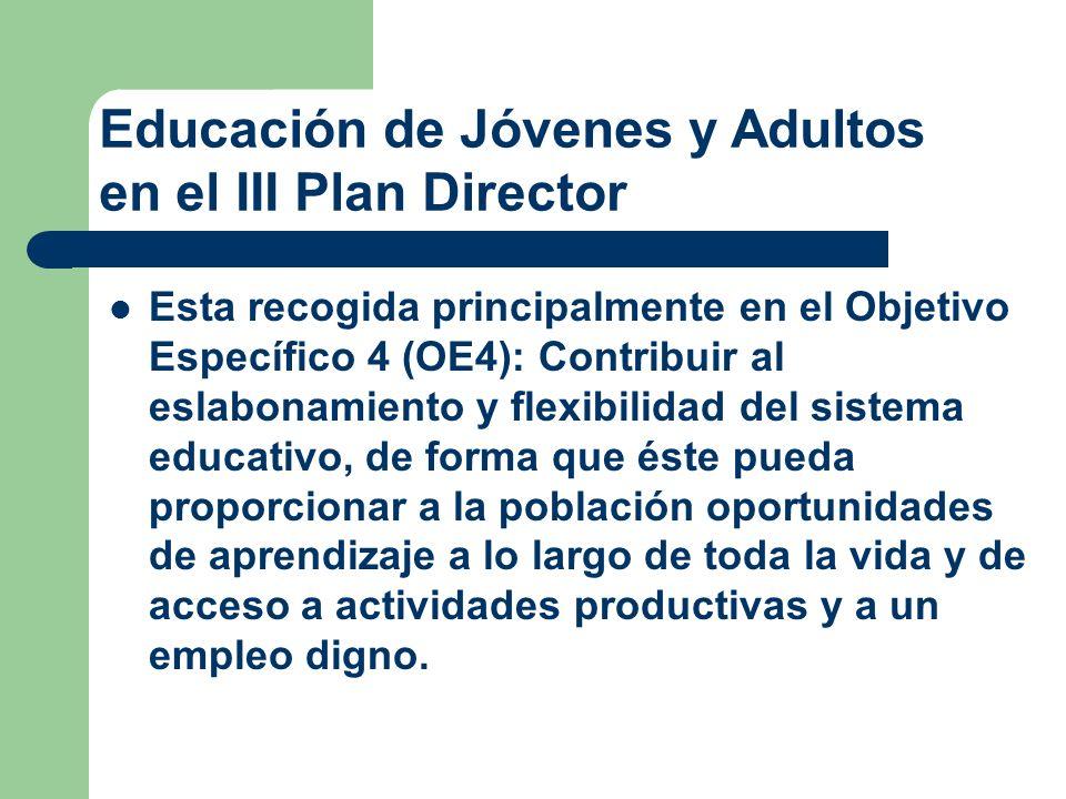 Esta recogida principalmente en el Objetivo Específico 4 (OE4): Contribuir al eslabonamiento y flexibilidad del sistema educativo, de forma que éste p