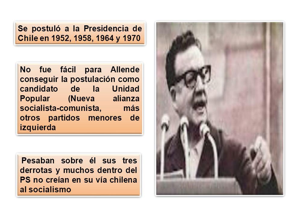 Se postuló a la Presidencia de Chile en 1952, 1958, 1964 y 1970 No fue fácil para Allende conseguir la postulación como candidato de la Unidad Popular (Nueva alianza socialista-comunista, más otros partidos menores de izquierda Pesaban sobre él sus tres derrotas y muchos dentro del PS no creían en su vía chilena al socialismo