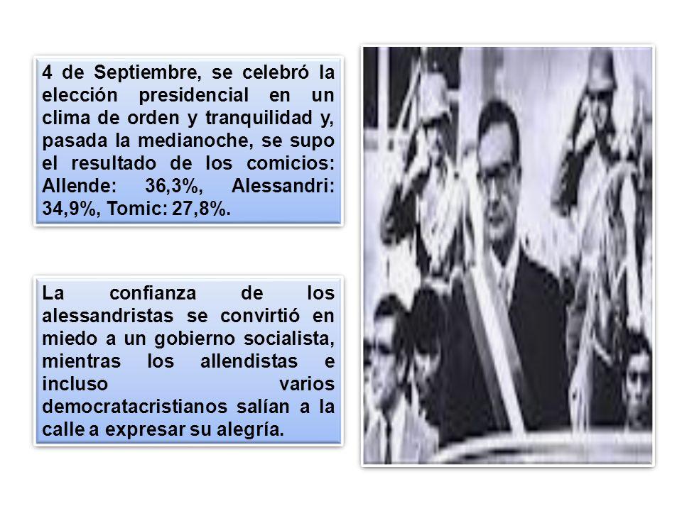 4 de Septiembre, se celebró la elección presidencial en un clima de orden y tranquilidad y, pasada la medianoche, se supo el resultado de los comicios: Allende: 36,3%, Alessandri: 34,9%, Tomic: 27,8%.