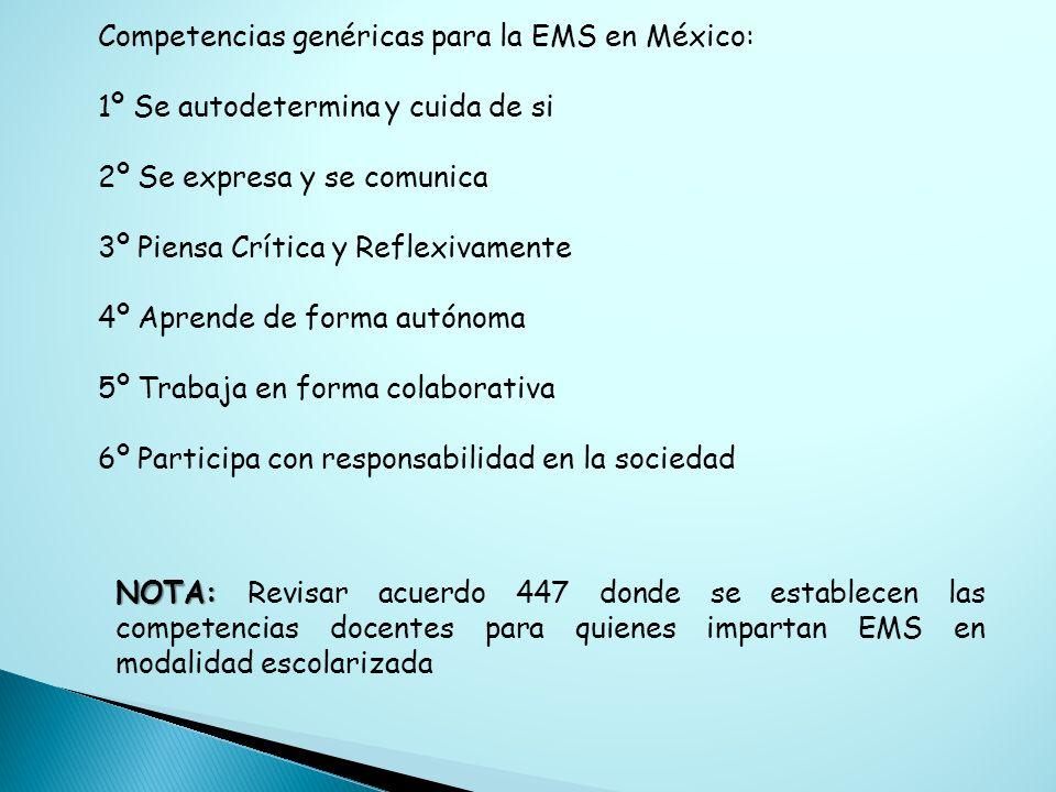 Competencias genéricas para la EMS en México: 1º Se autodetermina y cuida de si 2º Se expresa y se comunica 3º Piensa Crítica y Reflexivamente 4º Apre