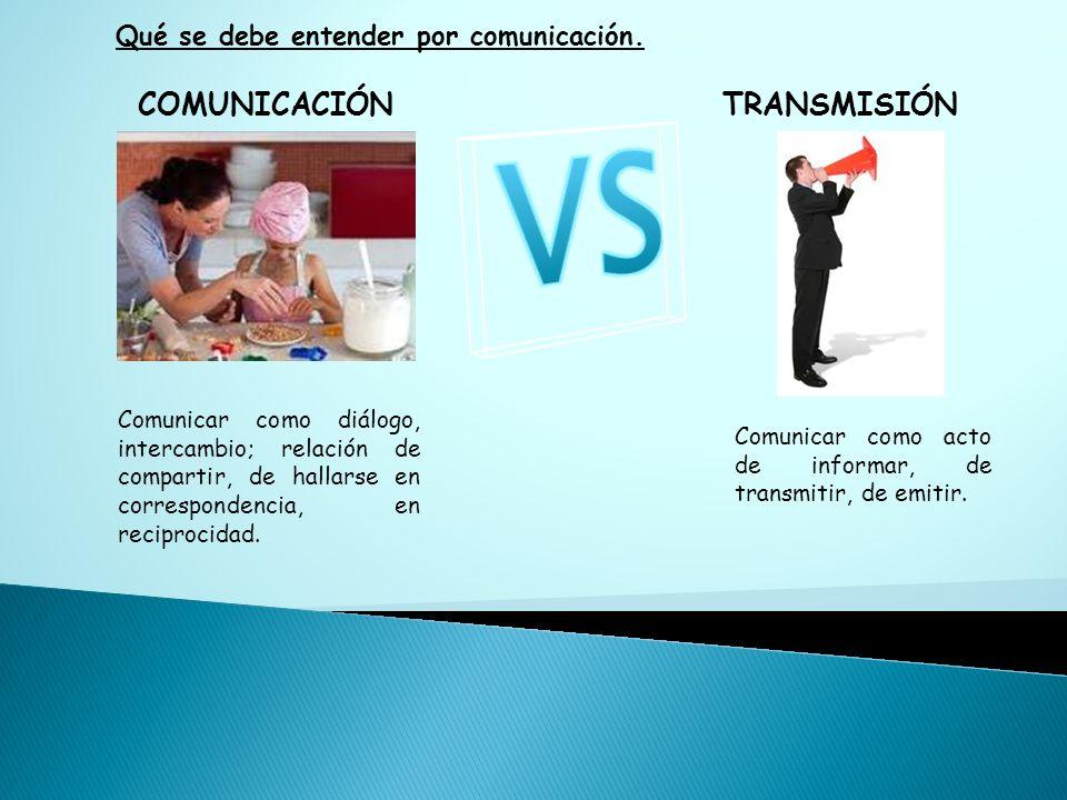 COMUNICACIÓNTRANSMISIÓN Comunicar como acto de informar, de transmitir, de emitir. Comunicar como diálogo, intercambio; relación de compartir, de hall