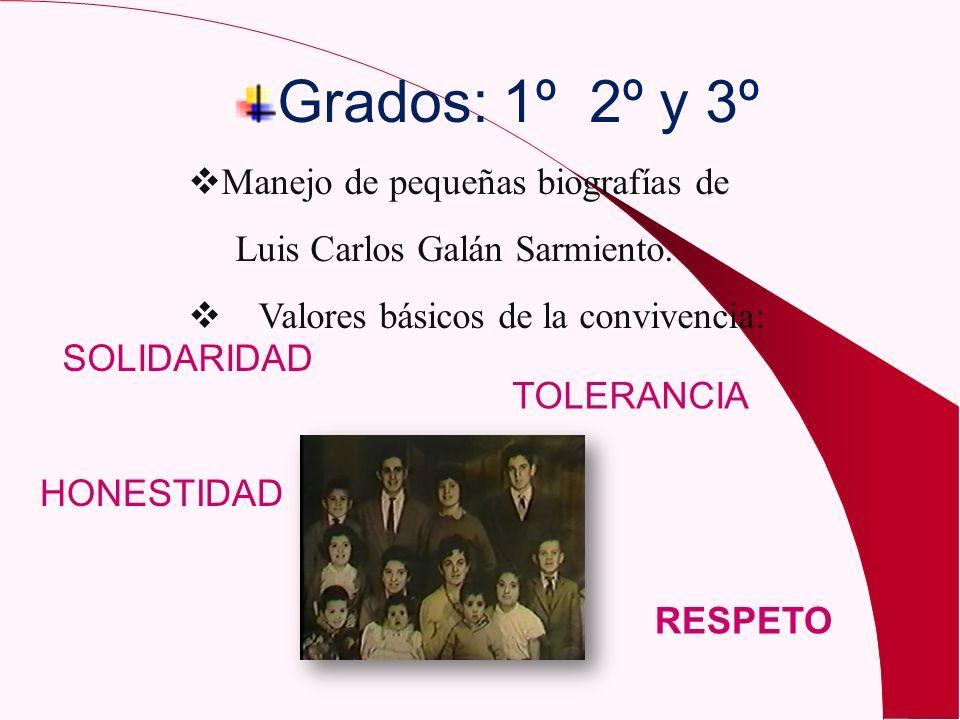 Grados: 1º 2º y 3º Manejo de pequeñas biografías de Luis Carlos Galán Sarmiento. Valores básicos de la convivencia: RESPETO TOLERANCIA HONESTIDAD SOLI