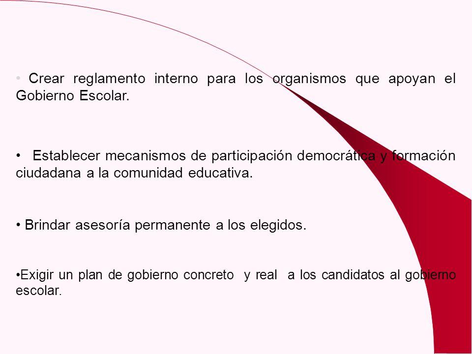 Crear reglamento interno para los organismos que apoyan el Gobierno Escolar. Establecer mecanismos de participación democrática y formación ciudadana