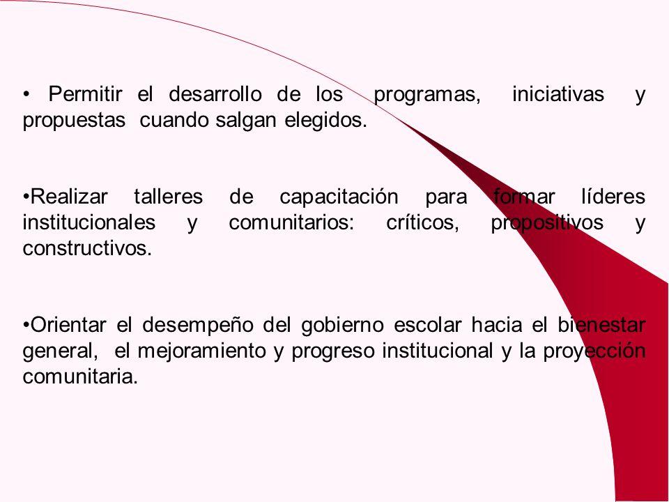 Permitir el desarrollo de los programas, iniciativas y propuestas cuando salgan elegidos. Realizar talleres de capacitación para formar líderes instit