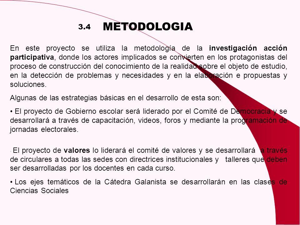 METODOLOGIA En este proyecto se utiliza la metodología de la investigación acción participativa, donde los actores implicados se convierten en los pro