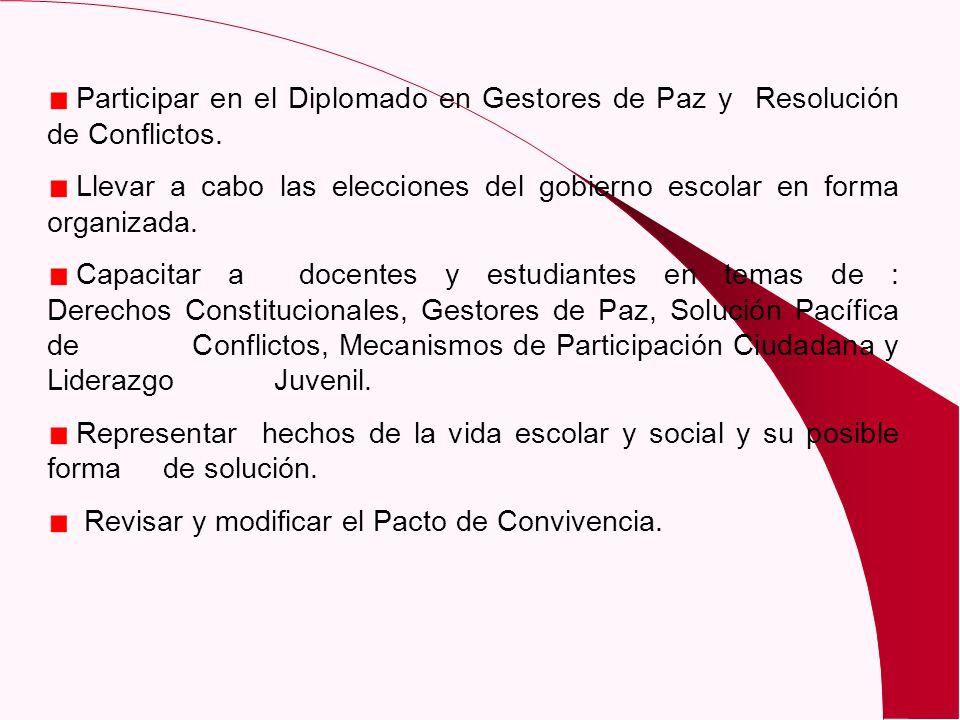 Participar en el Diplomado en Gestores de Paz y Resolución de Conflictos. Llevar a cabo las elecciones del gobierno escolar en forma organizada. Capac