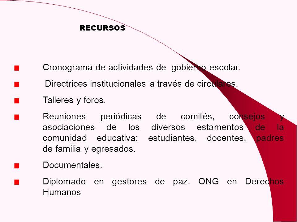 RECURSOS Cronograma de actividades de gobierno escolar. Directrices institucionales a través de circulares. Talleres y foros. Reuniones periódicas de