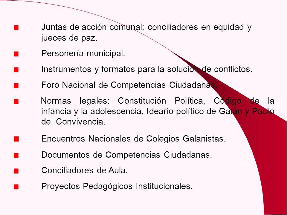 Juntas de acción comunal: conciliadores en equidad y jueces de paz. Personería municipal. Instrumentos y formatos para la solución de conflictos. Foro