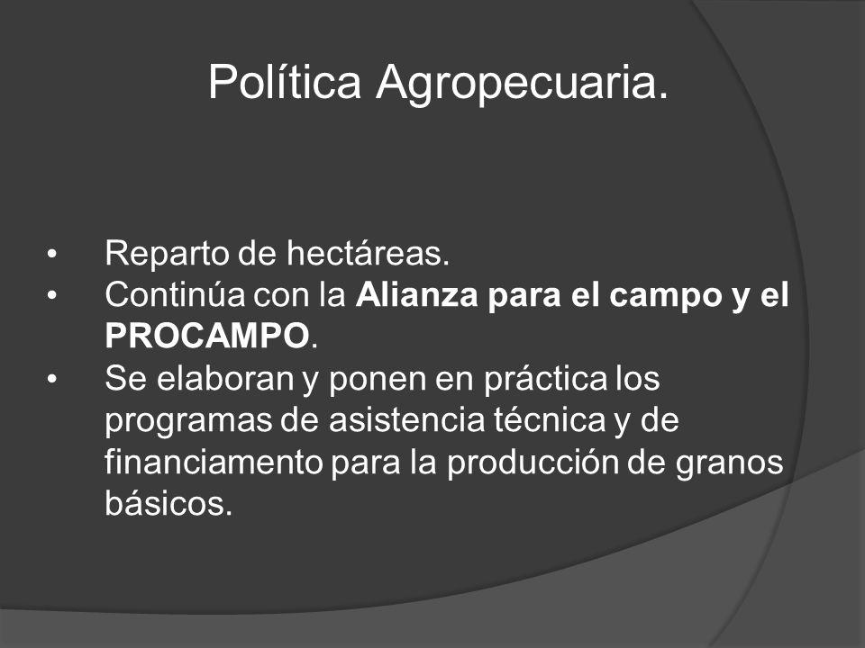 Política Agropecuaria. Reparto de hectáreas. Continúa con la Alianza para el campo y el PROCAMPO.