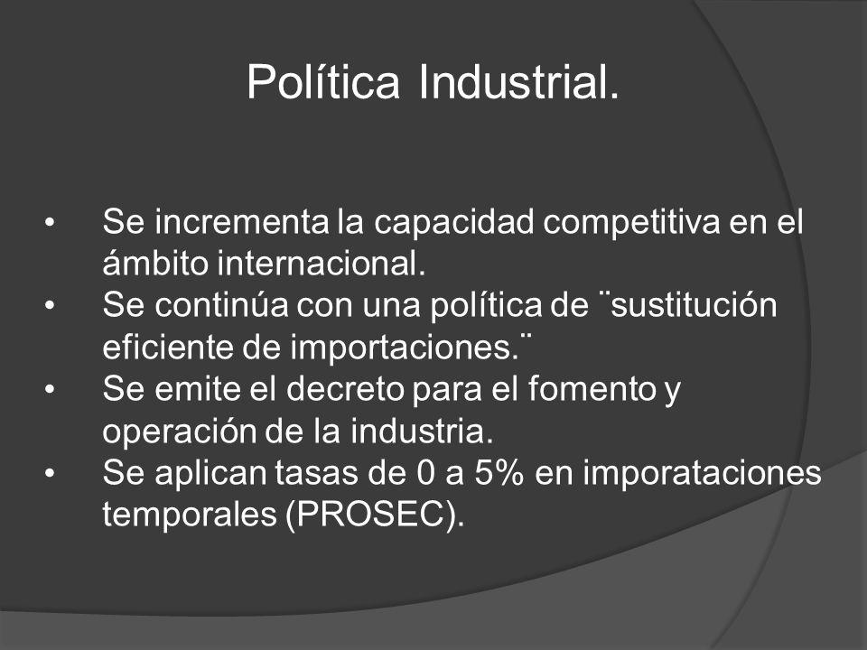 Política Industrial.Se incrementa la capacidad competitiva en el ámbito internacional.