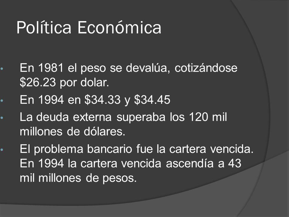 Política Económica En 1981 el peso se devalúa, cotizándose $26.23 por dolar.
