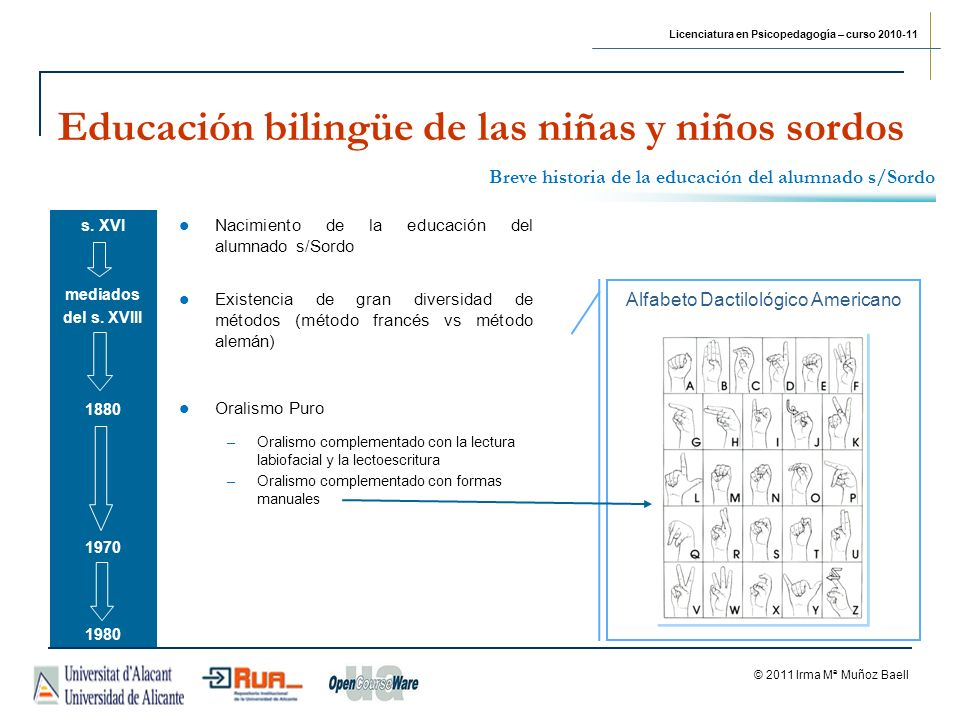 Licenciatura en Psicopedagogía – curso 2010-11 © 2011 Irma Mª Muñoz Baell Educación bilingüe de las niñas y niños sordos Otros recursos electrónicos...