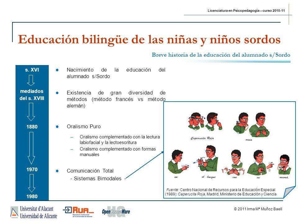 Licenciatura en Psicopedagogía – curso 2010-11 © 2011 Irma Mª Muñoz Baell Educación bilingüe de las niñas y niños sordos 2010 LEY 17/2010, de 3 de junio, de la lengua de signos catalana CAPÍTULO II - Derecho de uso, aprendizaje, docencia, investigación e interpretación de la lengua de signos Artículo 4.