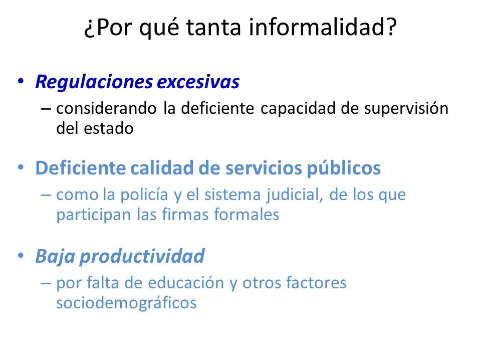 ¿Por qué tanta informalidad? Regulaciones excesivas – considerando la deficiente capacidad de supervisión del estado Deficiente calidad de servicios p