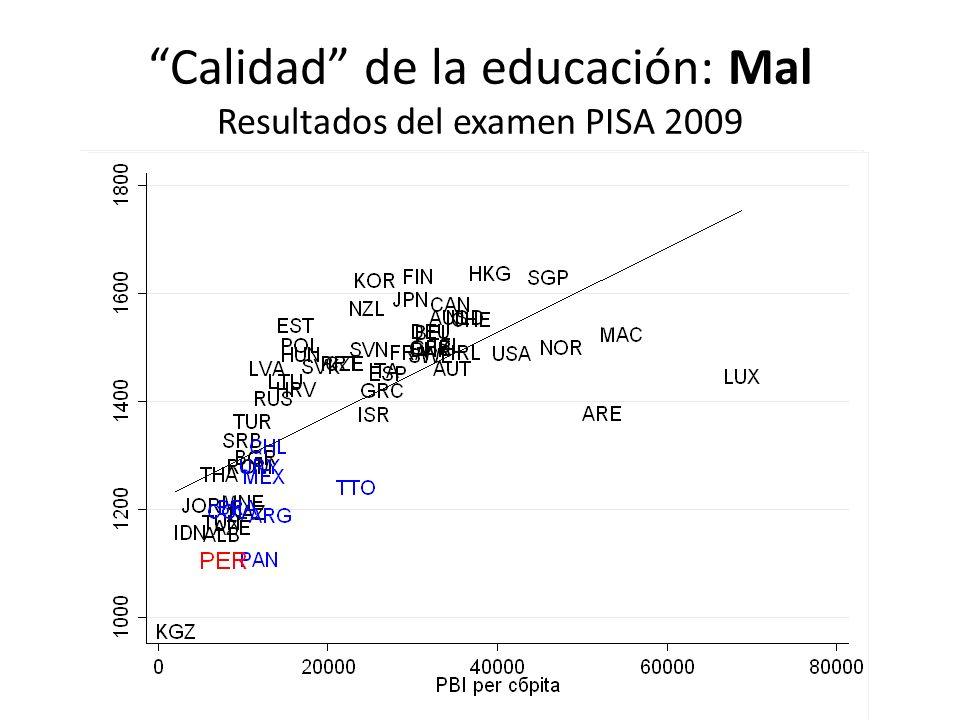 Calidad de la educación: Mal Resultados del examen PISA 2009