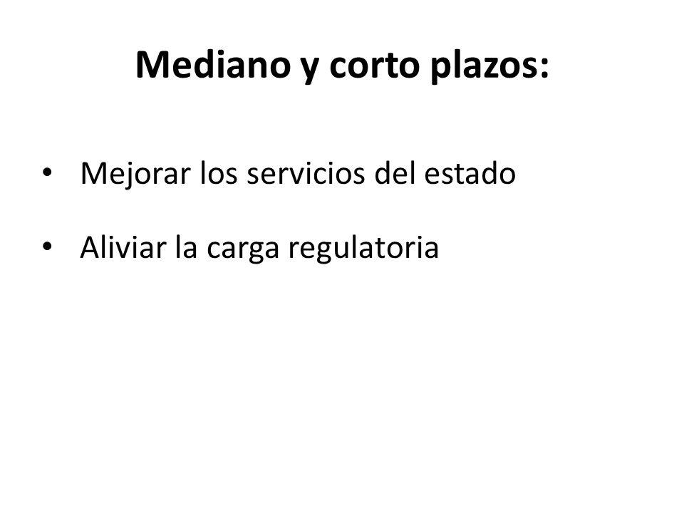 Mediano y corto plazos: Mejorar los servicios del estado Aliviar la carga regulatoria