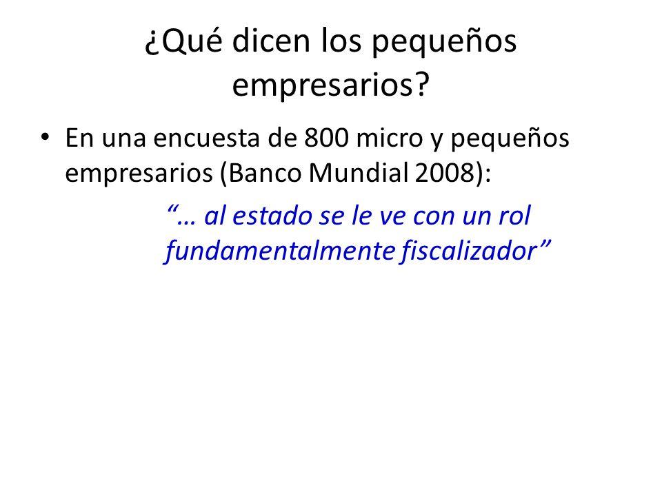 ¿Qué dicen los pequeños empresarios? En una encuesta de 800 micro y pequeños empresarios (Banco Mundial 2008): … al estado se le ve con un rol fundame