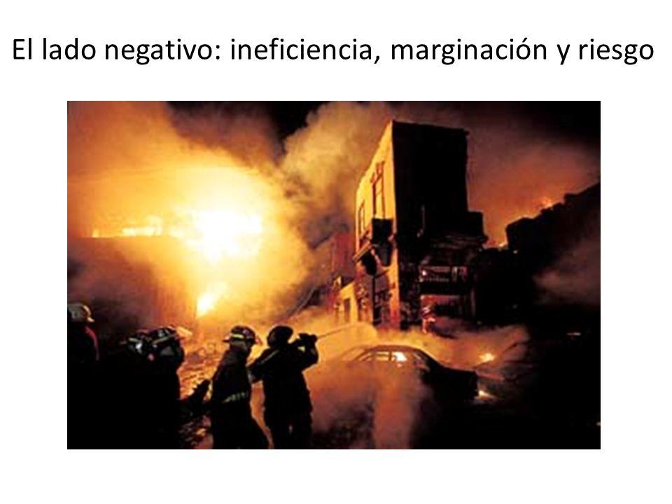 El lado negativo: ineficiencia, marginación y riesgo