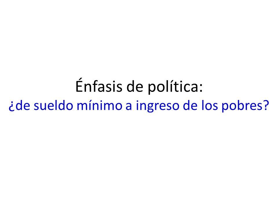 Énfasis de política: ¿de sueldo mínimo a ingreso de los pobres?