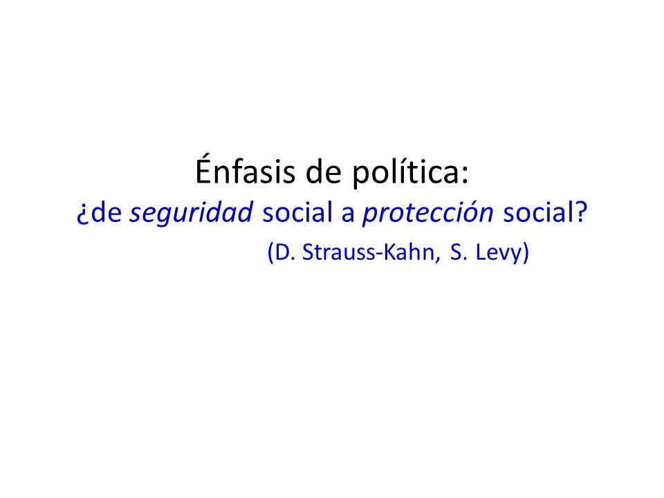 Énfasis de política: ¿de seguridad social a protección social? (D. Strauss-Kahn, S. Levy)