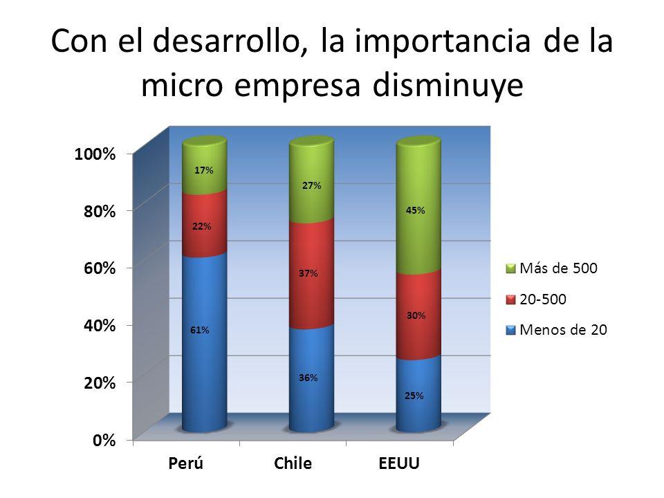 Con el desarrollo, la importancia de la micro empresa disminuye