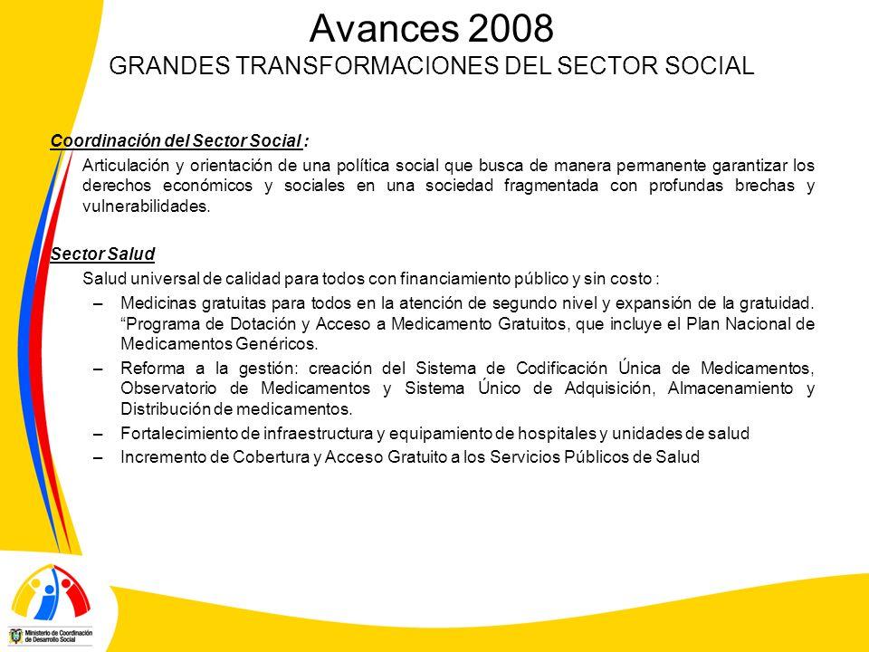 Avances 2008 GRANDES TRANSFORMACIONES DEL SECTOR SOCIAL Coordinación del Sector Social : Articulación y orientación de una política social que busca de manera permanente garantizar los derechos económicos y sociales en una sociedad fragmentada con profundas brechas y vulnerabilidades.