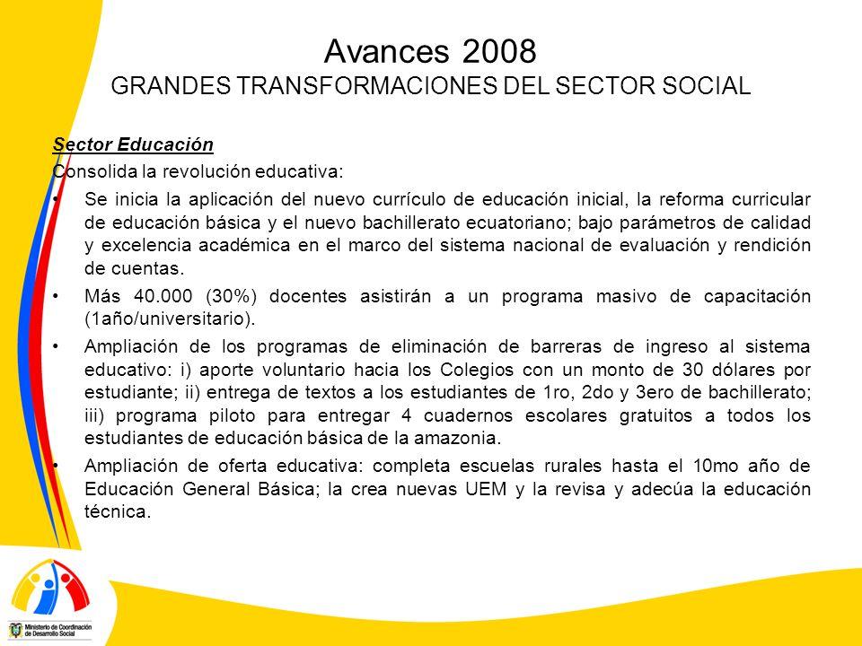 Avances 2008 GRANDES TRANSFORMACIONES DEL SECTOR SOCIAL Sector Educación Consolida la revolución educativa: Se inicia la aplicación del nuevo currículo de educación inicial, la reforma curricular de educación básica y el nuevo bachillerato ecuatoriano; bajo parámetros de calidad y excelencia académica en el marco del sistema nacional de evaluación y rendición de cuentas.