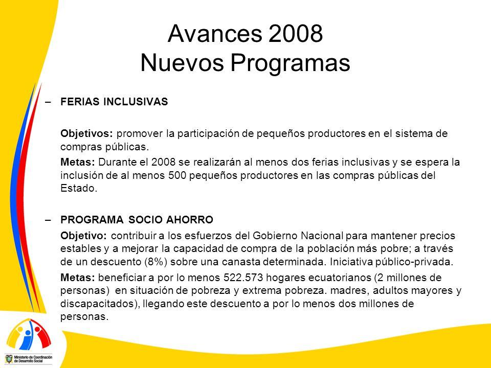 Avances 2008 Nuevos Programas –FERIAS INCLUSIVAS Objetivos: promover la participación de pequeños productores en el sistema de compras públicas. Metas