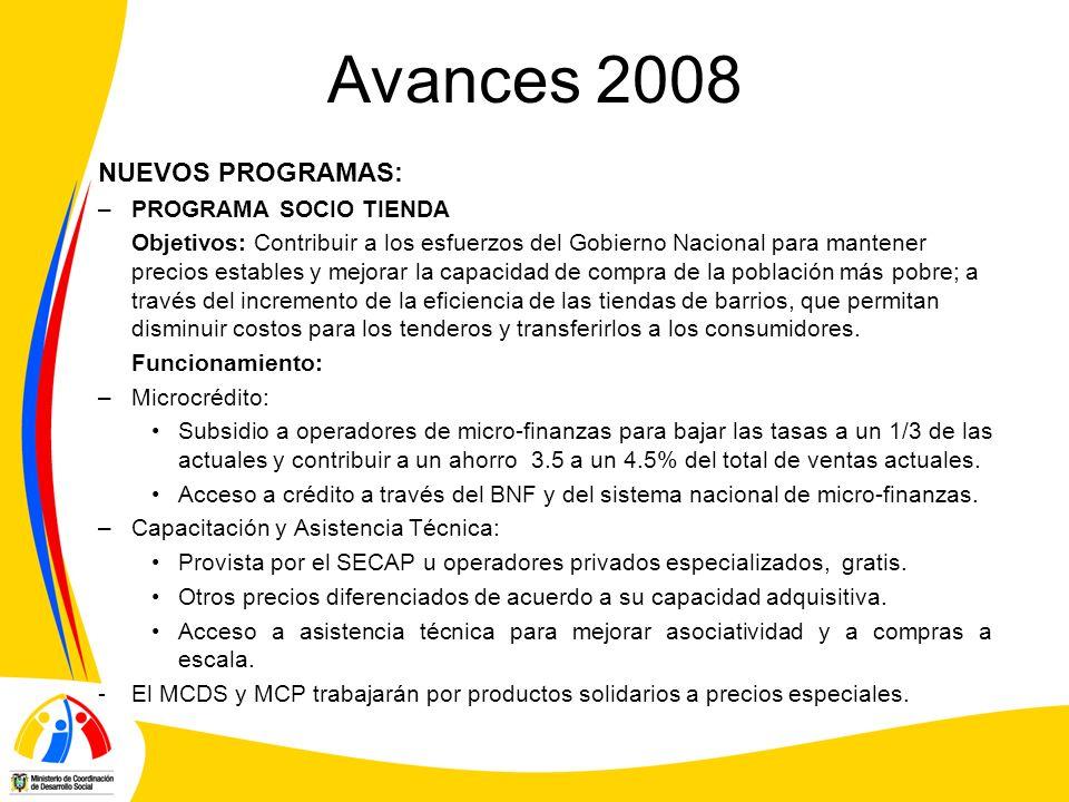 Avances 2008 NUEVOS PROGRAMAS: –PROGRAMA SOCIO TIENDA Objetivos: Contribuir a los esfuerzos del Gobierno Nacional para mantener precios estables y mej