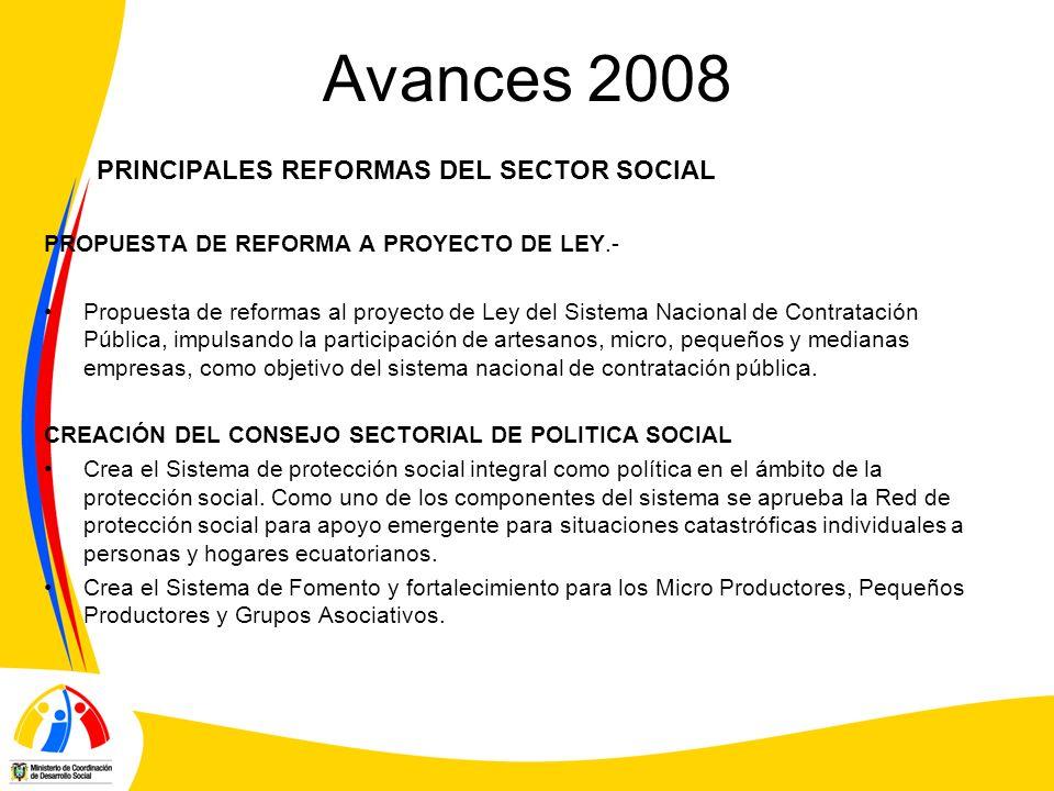 Avances 2008 PRINCIPALES REFORMAS DEL SECTOR SOCIAL PROPUESTA DE REFORMA A PROYECTO DE LEY.- Propuesta de reformas al proyecto de Ley del Sistema Naci