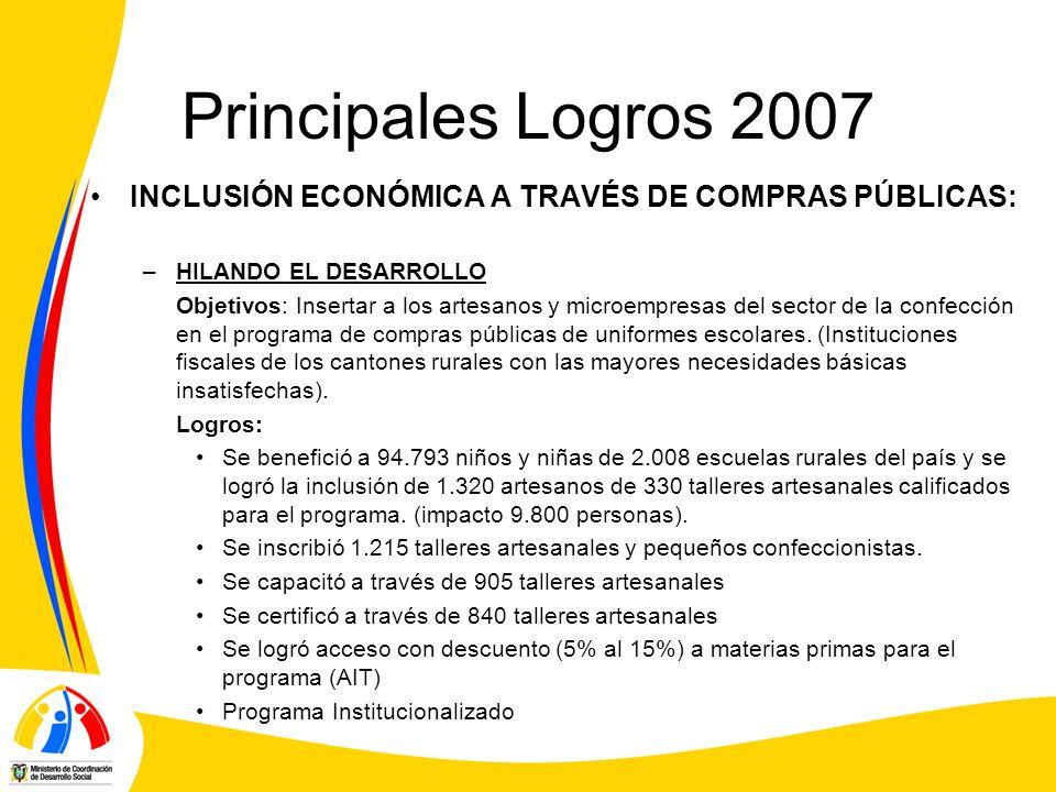 Principales Logros 2007 INCLUSIÓN ECONÓMICA A TRAVÉS DE COMPRAS PÚBLICAS: –HILANDO EL DESARROLLO Objetivos: Insertar a los artesanos y microempresas d