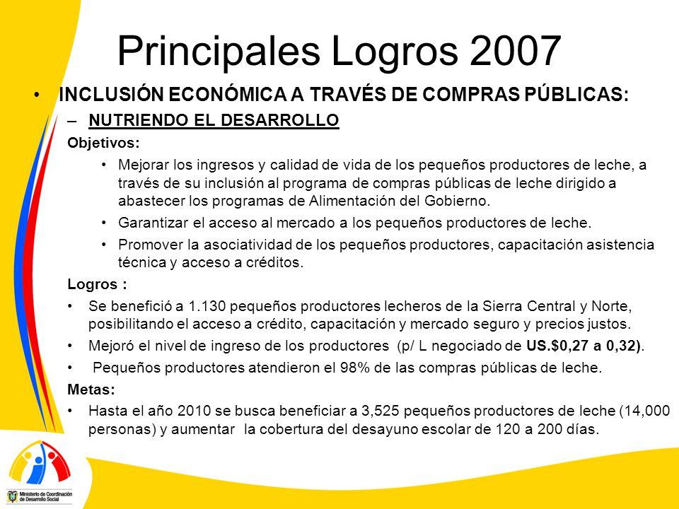 Principales Logros 2007 INCLUSIÓN ECONÓMICA A TRAVÉS DE COMPRAS PÚBLICAS: –NUTRIENDO EL DESARROLLO Objetivos: Mejorar los ingresos y calidad de vida d