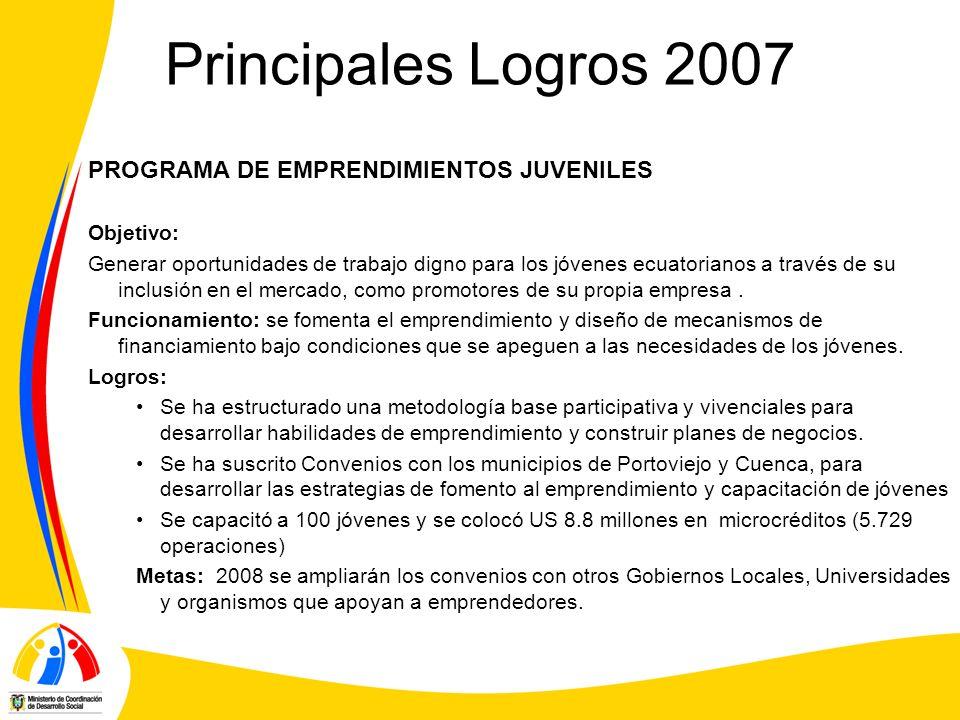 Principales Logros 2007 PROGRAMA DE EMPRENDIMIENTOS JUVENILES Objetivo: Generar oportunidades de trabajo digno para los jóvenes ecuatorianos a través de su inclusión en el mercado, como promotores de su propia empresa.