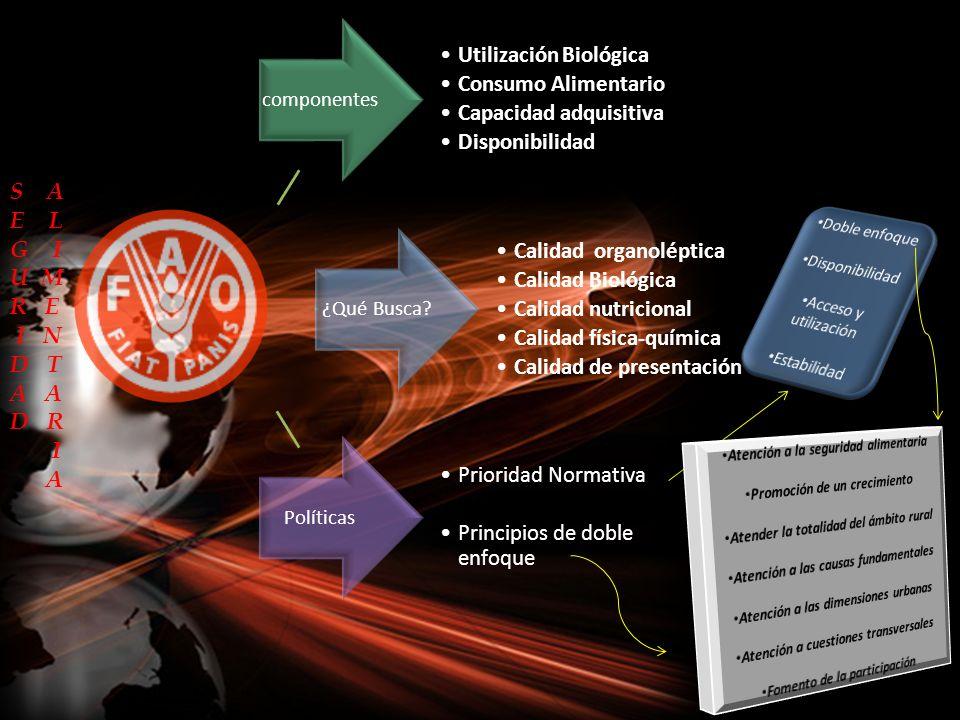 componentes Utilización Biológica Consumo Alimentario Capacidad adquisitiva Disponibilidad ¿Qué Busca? Calidad organoléptica Calidad Biológica Calidad