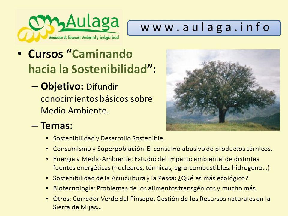 Cursos Caminando hacia la Sostenibilidad: – Objetivo: Difundir conocimientos básicos sobre Medio Ambiente. w w w. a u l a g a. i n f o – Temas: Sosten