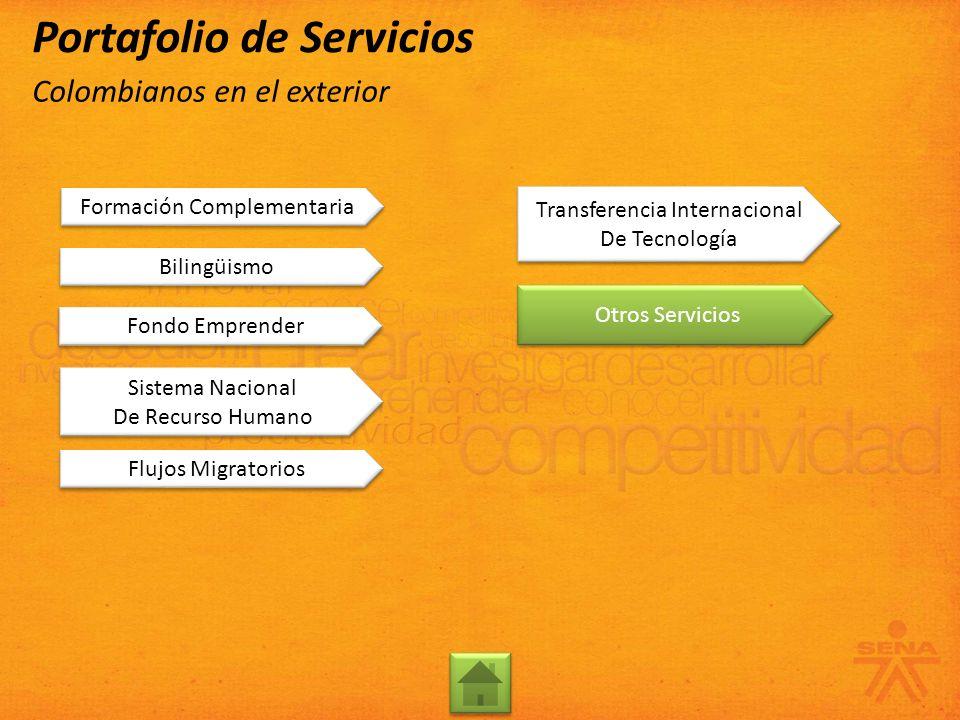 Formación Complementaria Bilingüismo Otros Servicios Transferencia Internacional De Tecnología Transferencia Internacional De Tecnología Flujos Migrat