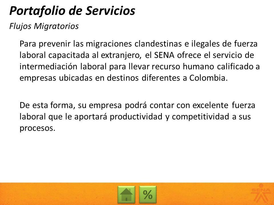 Para prevenir las migraciones clandestinas e ilegales de fuerza laboral capacitada al extranjero, el SENA ofrece el servicio de intermediación laboral para llevar recurso humano calificado a empresas ubicadas en destinos diferentes a Colombia.