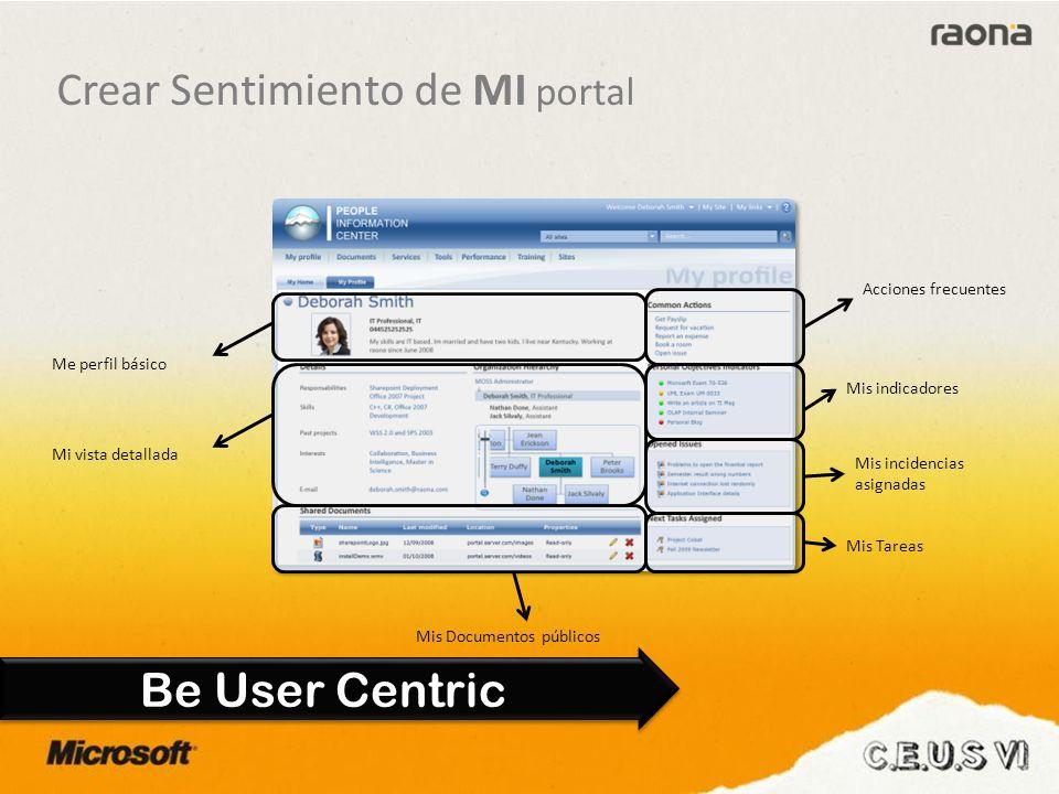 Be User Centric Acciones frecuentes Mis indicadores Mis incidencias asignadas Mis Tareas Mis Documentos públicos Mi vista detallada Me perfil básico Crear Sentimiento de MI portal