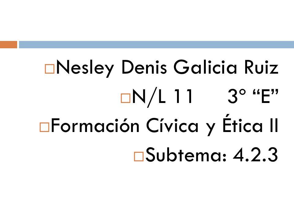 Nesley Denis Galicia Ruiz N/L 11 3º E Formación Cívica y Ética II Subtema: 4.2.3