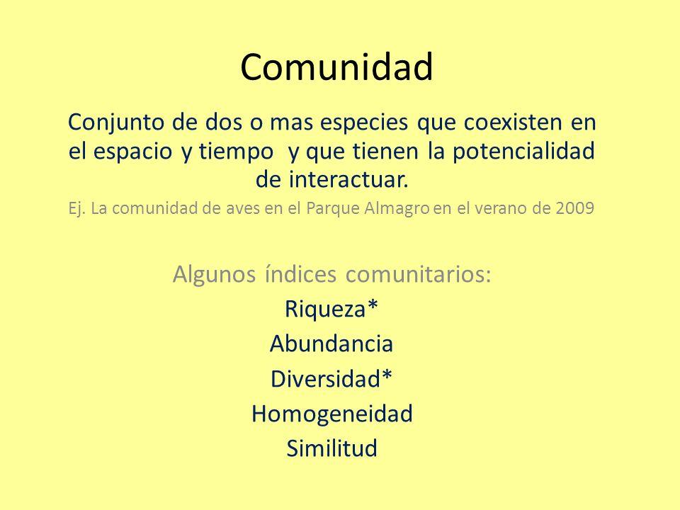 Comunidad Conjunto de dos o mas especies que coexisten en el espacio y tiempo y que tienen la potencialidad de interactuar.