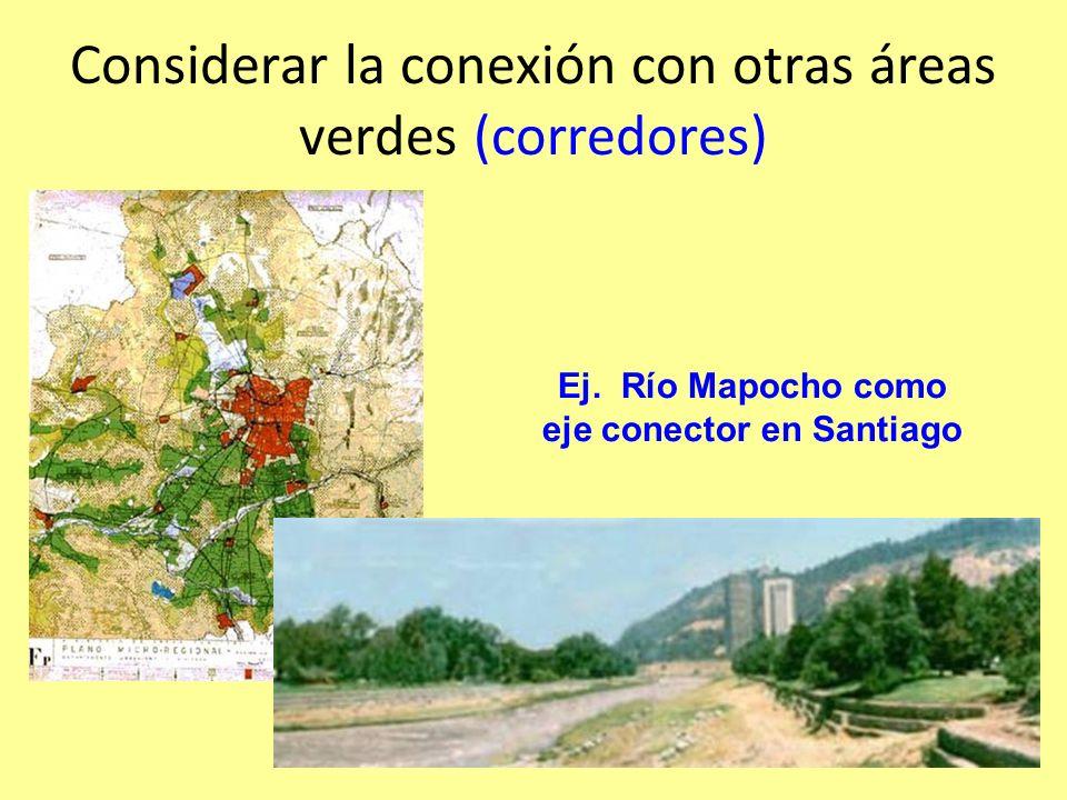 Considerar la conexión con otras áreas verdes (corredores) Ej.