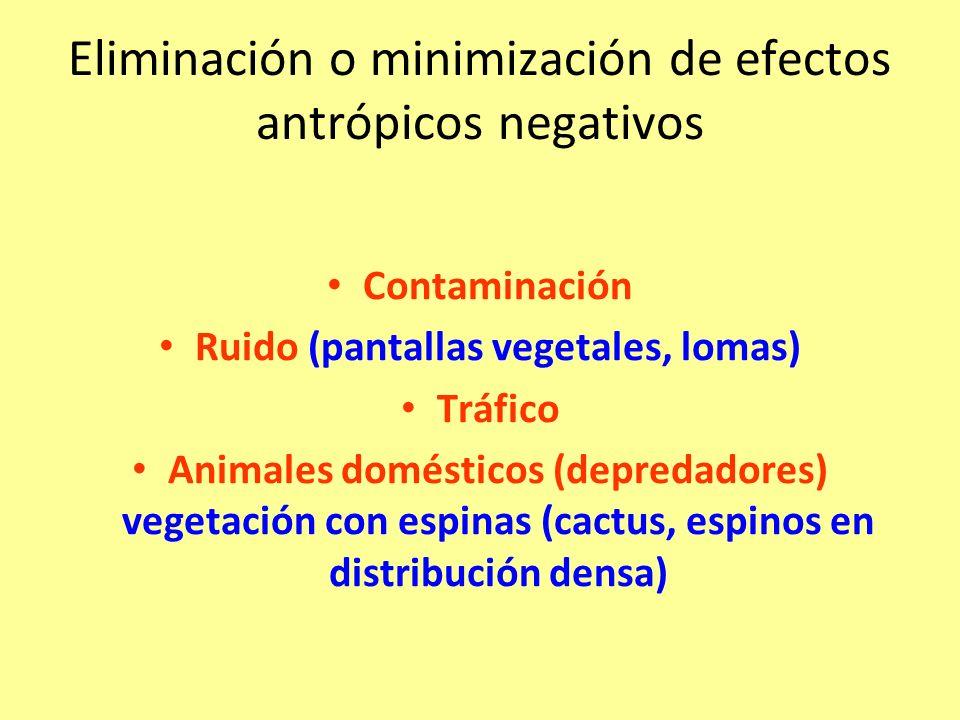 Eliminación o minimización de efectos antrópicos negativos Contaminación Ruido (pantallas vegetales, lomas) Tráfico Animales domésticos (depredadores) vegetación con espinas (cactus, espinos en distribución densa)