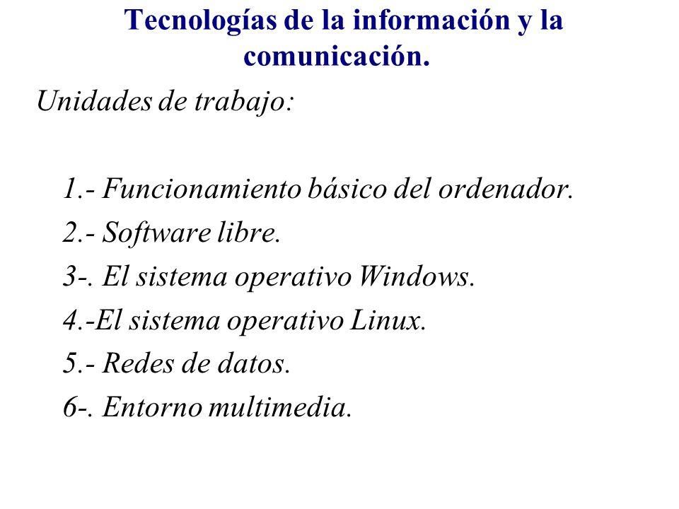 Tecnologías de la información y la comunicación. Unidades de trabajo: 1.- Funcionamiento básico del ordenador. 2.- Software libre. 3-. El sistema oper