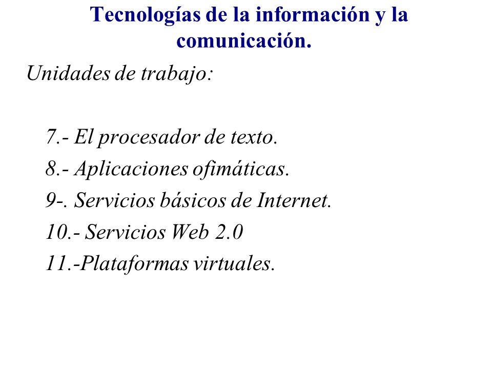 Tecnologías de la información y la comunicación. Unidades de trabajo: 7.- El procesador de texto. 8.- Aplicaciones ofimáticas. 9-. Servicios básicos d